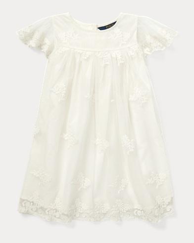 폴로 랄프로렌 Polo Ralph Lauren Embroidered Tulle Dress,White Sand