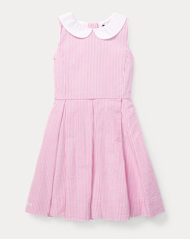 폴로 랄프로렌 Polo Ralph Lauren Seersucker Fit-and-Flare Dress,Baja Pink/White
