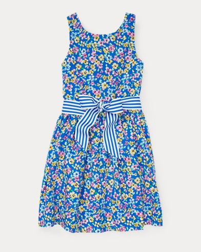 폴로 랄프로렌 Polo Ralph Lauren Floral Fit-and-Flare Dress,Blue