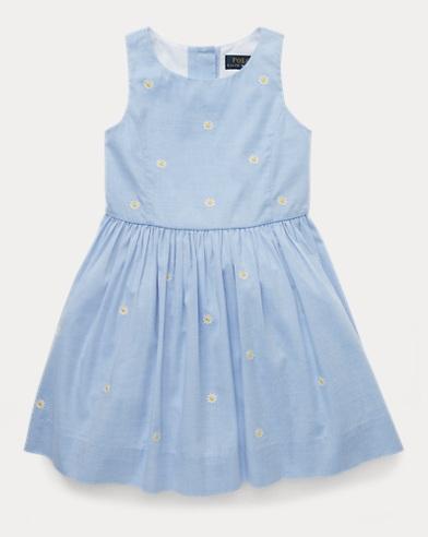 폴로 랄프로렌 Polo Ralph Lauren Daisy Fit-and-Flare Dress,Blue/White