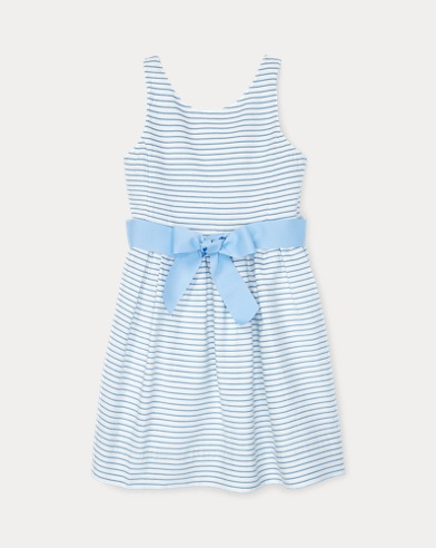 폴로 랄프로렌 Polo Ralph Lauren Striped Fit-and-Flare Dress,Blue/White Multi