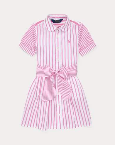 폴로 랄프로렌 Polo Ralph Lauren Striped Cotton Shirtdress,Baja Pink/White