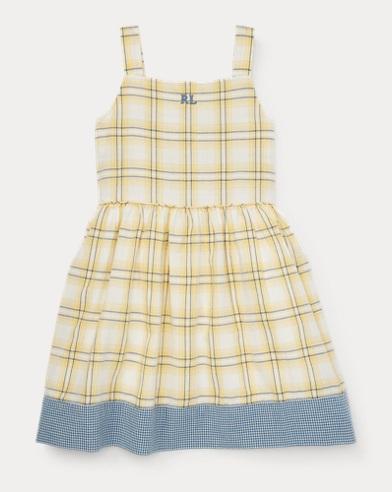 폴로 랄프로렌 Polo Ralph Lauren Plaid Cotton Dobby Dress,Yellow/White