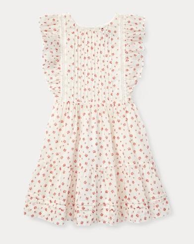 폴로 랄프로렌 Polo Ralph Lauren Floral Ruffled Cotton Dress,Cream/Pink Multi