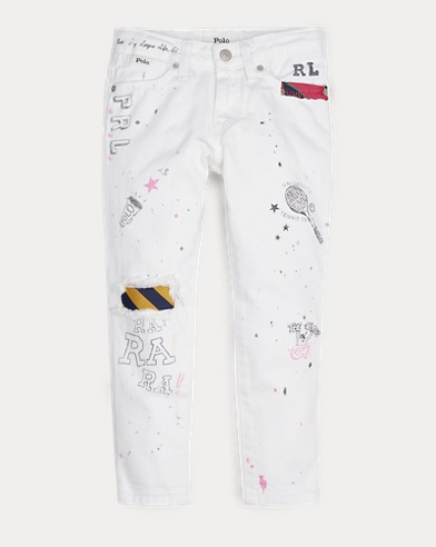 폴로 랄프로렌 Polo Ralph Lauren Graffiti Slim Boyfriend Jean,Nero Wash