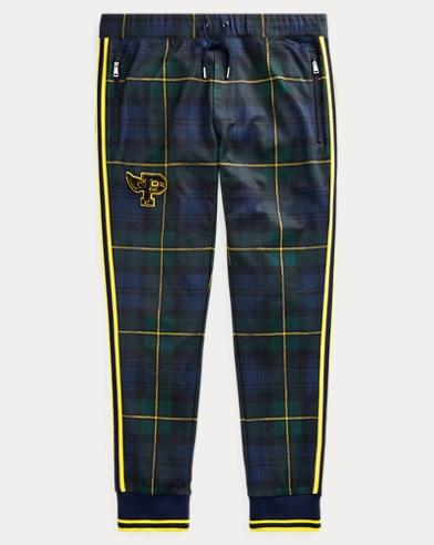 폴로 랄프로렌 Polo Ralph Lauren Tartan Double-Knit Track Pant,Plaid/Chrome Yellow