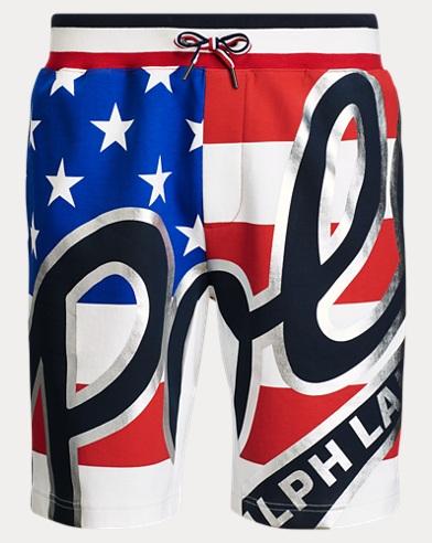 폴로 랄프로렌 Polo Ralph Lauren Double-Knit Graphic Short,American Flag Multi