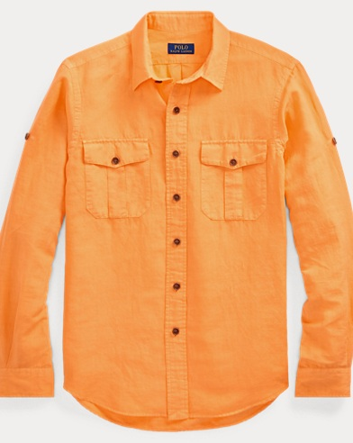 폴로 랄프로렌 Polo Ralph Lauren Classic Fit Linen-Blend Shirt,Key West Orange