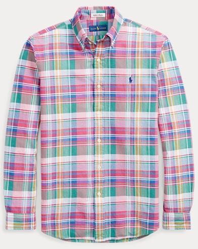 폴로 랄프로렌 마드라스 셔츠 - 체리 네이비 (클래식 핏) Polo Ralph Lauren Classic Fit Madras Shirt,Cherry/Navy Multi