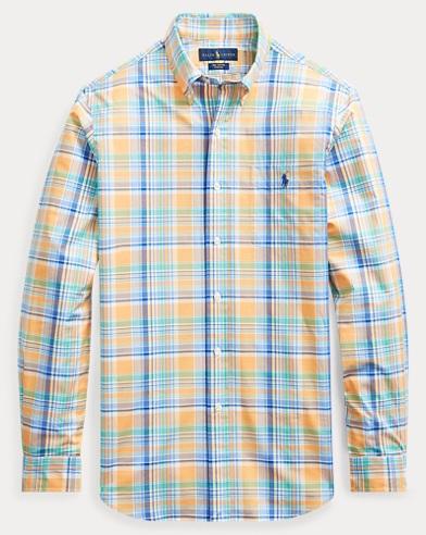 폴로 랄프로렌 체크 포플린 셔츠 (클래식핏) Polo Ralph Lauren Classic Fit Plaid Poplin Shirt,3306b Key West Orange/blu