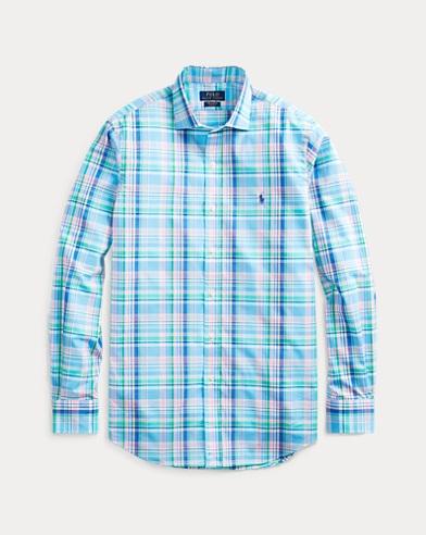 폴로 랄프로렌 체크 포플린 셔츠 (클래식핏) Polo Ralph Lauren Classic Fit Plaid Poplin Shirt,Liquid Blue/Stem Multi