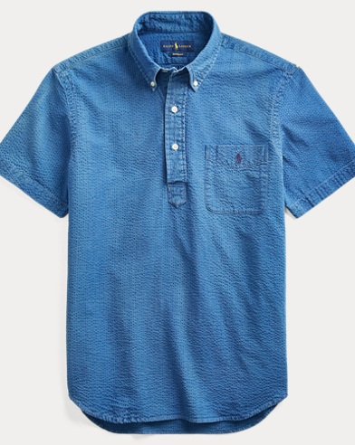 폴로 랄프로렌 Polo Ralph Lauren Classic Fit Seersucker Shirt,Indigo