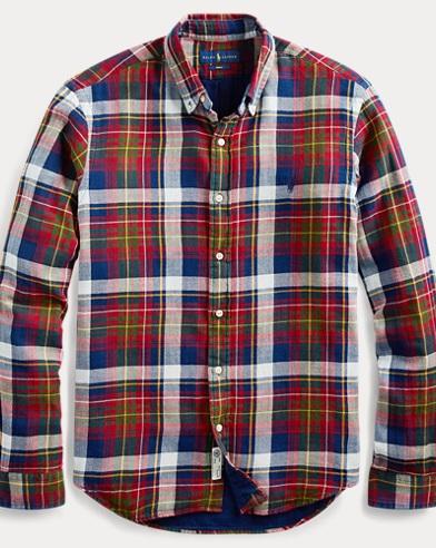폴로 랄프로렌 플레이드 체크 셔츠 (클래식 핏) Polo Ralph Lauren Classic Fit Plaid Shirt,Red Multi/Indigo
