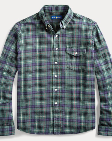 폴로 랄프로렌 플레이드 체크 셔츠, 트윌 (클래식 핏) Polo Ralph Lauren Classic Fit Plaid Twill Shirt,Olive/Red Multi