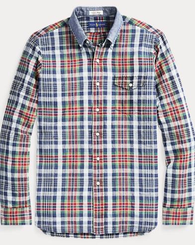 폴로 랄프로렌 마드라스 셔츠 - 네이비 샤프론 (클래식 핏)  Polo Ralph Lauren Classic Fit Madras Shirt,Navy/Saffron Multi