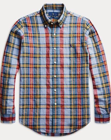 폴로 랄프로렌 Polo Ralph Lauren Classic Fit Plaid Linen Shirt,Indigo/Royal Multi