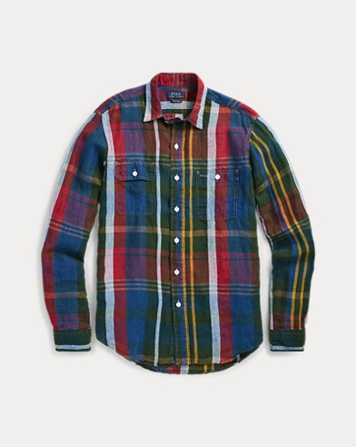 폴로 랄프로렌 Polo Ralph Lauren Classic Fit Plaid Workshirt,Indigo/Wine Multi