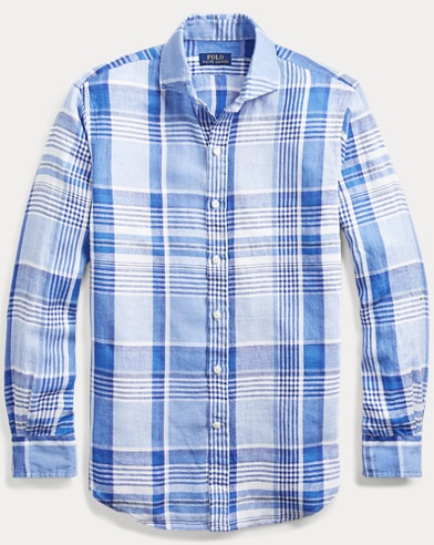 폴로 랄프로렌 Polo Ralph Lauren Classic Fit Plaid Linen Shirt,Royal/Ocean Multi