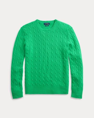 폴로 랄프로렌 스웨터 Polo Ralph Lauren Cable-Knit Cashmere Sweater,New Tie Green