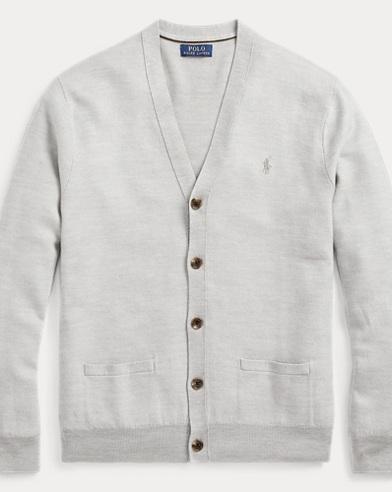 폴로 랄프로렌 Polo Ralph Lauren Wool-Silk-Cashmere Cardigan,Cool Grey Heather