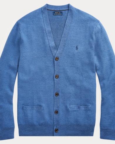 폴로 랄프로렌 Polo Ralph Lauren Wool-Silk-Cashmere Cardigan,Fog Blue Heather