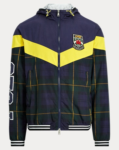 폴로 랄프로렌 Polo Ralph Lauren Tartan Water-Repellent Jacket,Frnch Nvy/Chrme Yllw