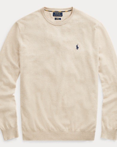폴로 랄프로렌 Polo Ralph Lauren Cotton Crewneck Sweater,Sand Heather