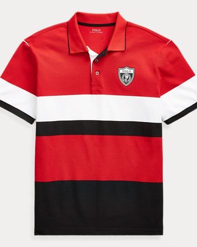 폴로 랄프로렌 Polo Ralph Lauren Striped Mesh Polo Shirt,Polo Black/Rl2000 Red