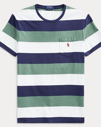 폴로 랄프로렌 Polo Ralph Lauren Custom Slim Fit Striped Tee,Washed Forest Multi