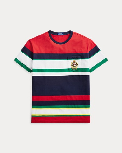 폴로 랄프로렌 Polo Ralph Lauren Classic Fit Striped Pocket Tee,White Multi