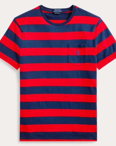 폴로 랄프로렌 Polo Ralph Lauren Custom Slim Fit Striped Tee,Cruise Red/Newport Navy