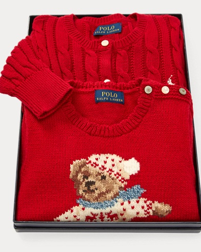 폴로 랄프로렌 걸즈 스웨터 Polo Ralph Lauren Sweater 2-Piece Gift Set,Multi