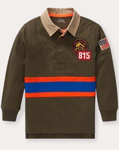 폴로 랄프로렌 남아용 긴팔 럭비셔츠 Polo Ralph Lauren Cotton-Blend-Mesh Rugby Shirt,Expedition Olive Multi