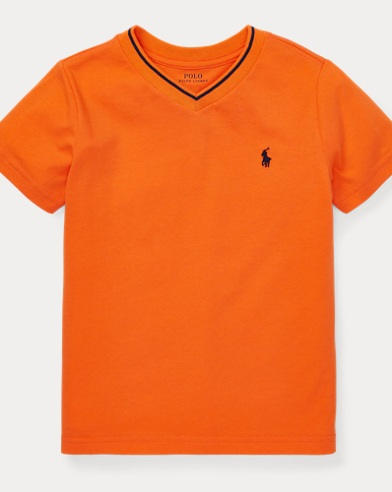 폴로 랄프로렌 Polo Ralph Lauren Cotton-Blend V-Neck Tee,Flare Orange