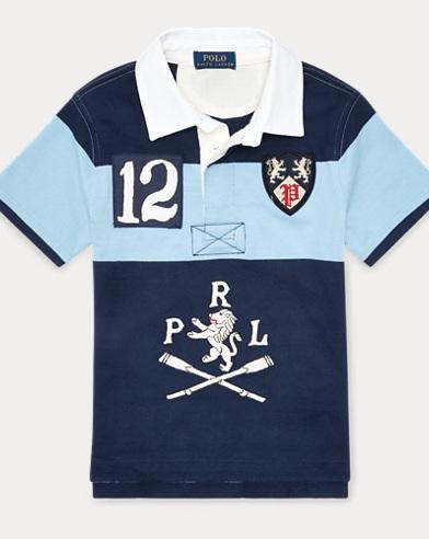 폴로 랄프로렌 남아용 그래픽 반팔 럭비셔츠 Polo Ralph Lauren Cotton Graphic Rugby Shirt,Collin Blue Multi