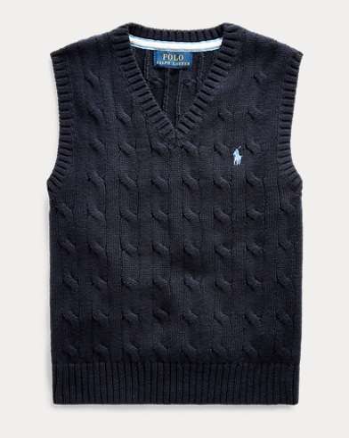 폴로 랄프로렌 남아용 Polo Ralph Lauren Cable-Knit Cotton Sweater Vest,헌터 Hunter Navy