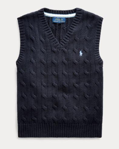 폴로 랄프로렌 Polo Ralph Lauren Cable-Knit Cotton Sweater Vest,헌터 Hunter Navy