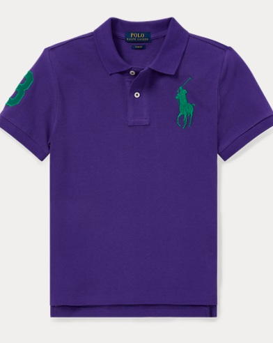 폴로 랄프로렌 Polo Ralph Lauren Slim Fit Cotton Mesh Polo,Purple Rage