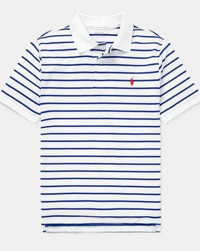 폴로 랄프로렌 보이즈 스트라이프 반팔 폴로셔츠 - 화이트 멀티 Polo Ralph Lauren Performance Lisle Polo Shirt,White Multi