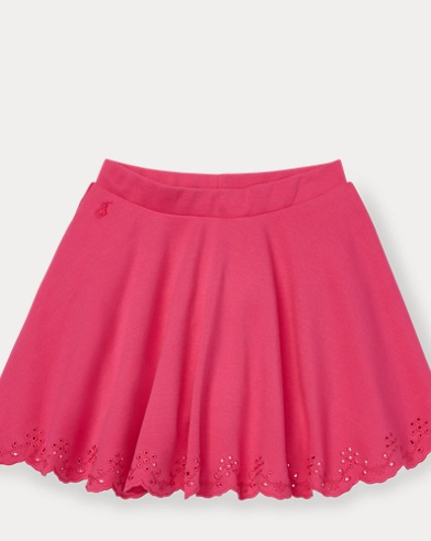 폴로 랄프로렌 Polo Ralph Lauren Eyelet Ponte Circle Skirt,Ultra Pink