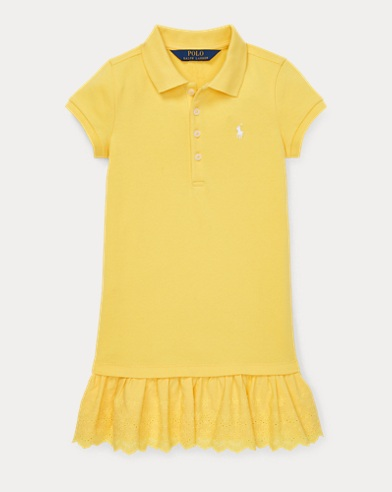 폴로 랄프로렌 Polo Ralph Lauren Eyelet Polo Dress,Signal Yellow