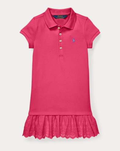 폴로 랄프로렌 Polo Ralph Lauren Eyelet Polo Dress,Ultra Pink