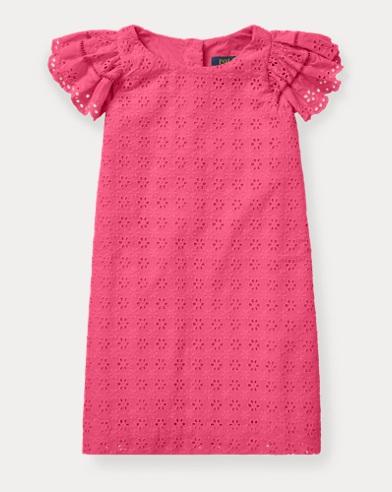 폴로 랄프로렌 Polo Ralph Lauren Eyelet Woven Dress,Ultra Pink
