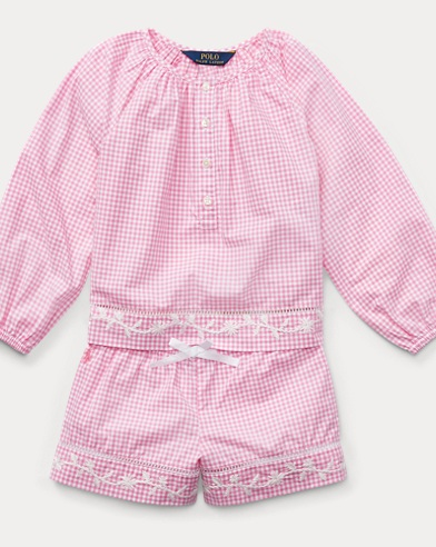 폴로 랄프로렌 Polo Ralph Lauren Gingham Top & Short Set,Baja Pink/White