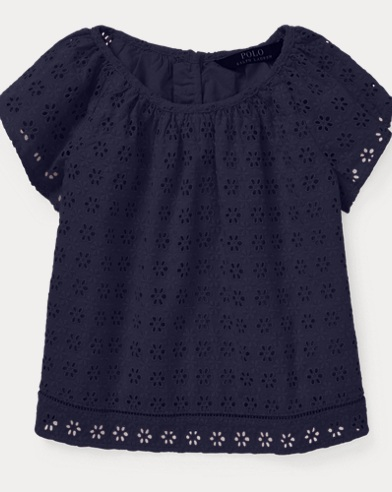 폴로 랄프로렌 Polo Ralph Lauren Eyelet Flutter-Sleeve Top,French Navy