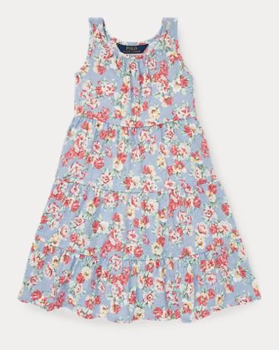 폴로 랄프로렌 Polo Ralph Lauren Floral Cotton Jersey Dress,Blue/Red Multi