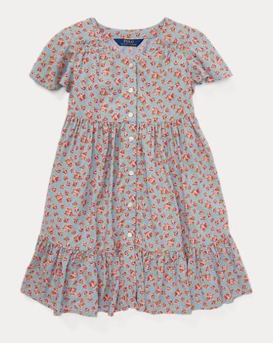 폴로 랄프로렌 Polo Ralph Lauren Floral Woven Dress,Turquoise/Pink
