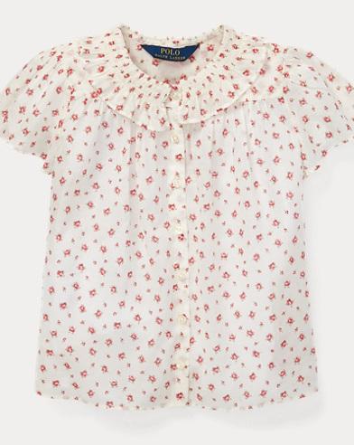 폴로 랄프로렌 Polo Ralph Lauren Floral Cotton Batiste Top,White/Pink Multi