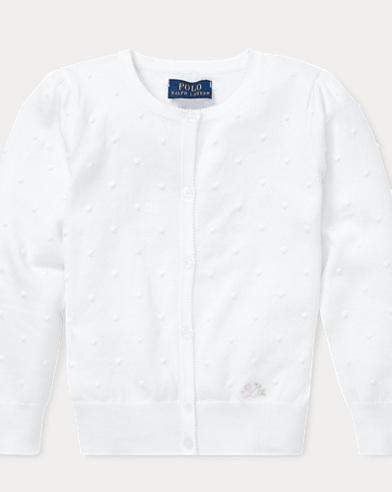 폴로 랄프로렌 Polo Ralph Lauren Dotted Cotton Cardigan,White