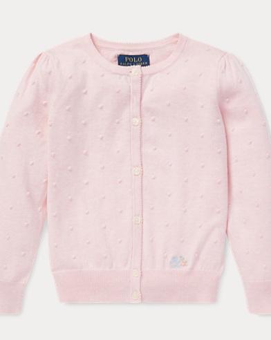 폴로 랄프로렌 Polo Ralph Lauren Dotted Cotton Cardigan,Hint Of Pink Heather
